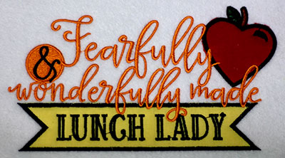 Embroidery Design: Fearfully Lunch Lady Applique Lg 7.52w X 4.41h