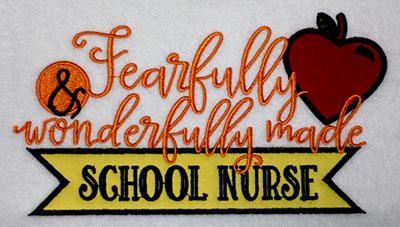 Embroidery Design: Fearfully School Nurse Applique Lg 7.60w X 4.46h