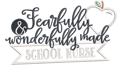 Embroidery Design: Fearfully School Nurse Applique Med 6.60w X 3.88h
