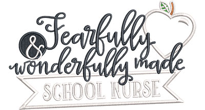 Embroidery Design: Fearfully School Nurse Applique Sm 5.60w X 3.29h