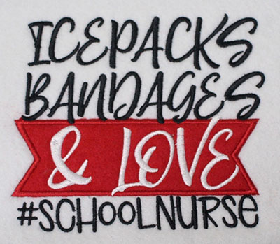 Embroidery Design: School Nurse Lg Applique 6.21w X 5.37h