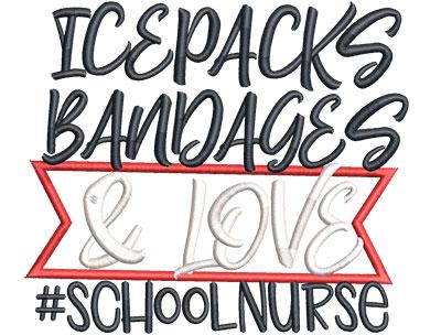 Embroidery Design: School Nurse Med Applique 5.21w X 4.50h