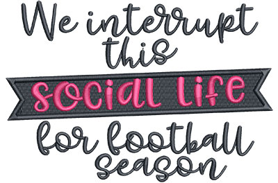 Embroidery Design: Interrupt For Football Med 6.50w X 4.42h