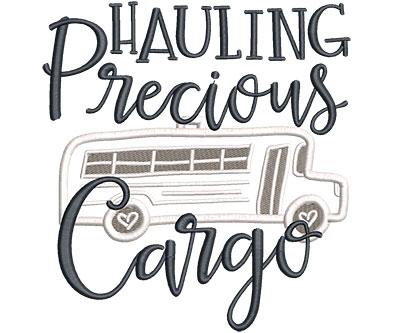 Embroidery Design: Hauling Precious Cargo Applique Lg 5.43w X 5.84h