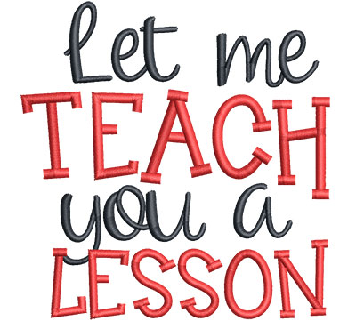 Embroidery Design: Teach lesson Med4.50w x 4.65h