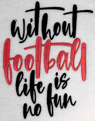 Embroidery Design: Without Football Lg5.34w x 6.43H