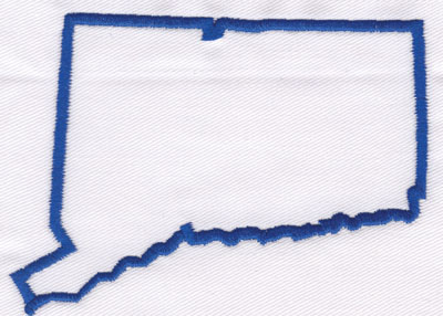 """Embroidery Design: Connecticut Outline3.03"""" x 4.06"""""""