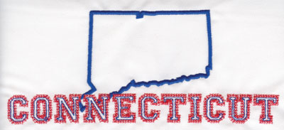 """Embroidery Design: Connecticut Outline and Name3.37"""" x 8.02"""""""
