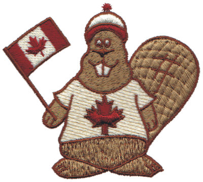 """Embroidery Design: Canadian Beaver3.78"""" x 3.35"""""""