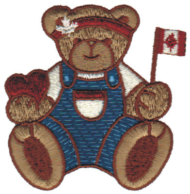 """Embroidery Design: Canadian Teddy2.98"""" x 3.06"""""""