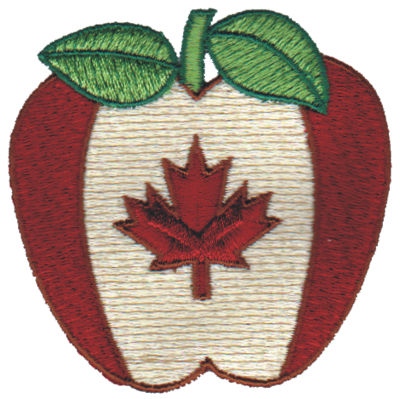 "Embroidery Design: Canadian Apple3.03"" x 3.00"""