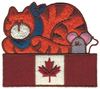 "Embroidery Design: Canadian Cat & Mouse3.39"" x 2.89"""
