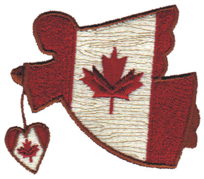 """Embroidery Design: Canadian Angel w/Heart3.07"""" x 2.83"""""""
