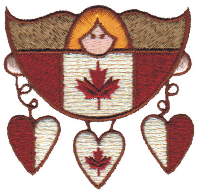 "Embroidery Design: Canadian Angel w/Three Hearts3.05"" x 2.93"""