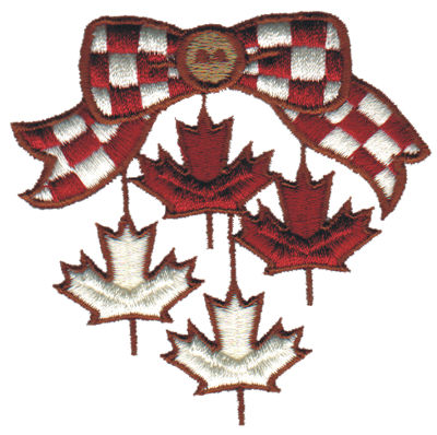 """Embroidery Design: Canadian Bow w/Hanging Leaves3.16"""" x 3.12"""""""