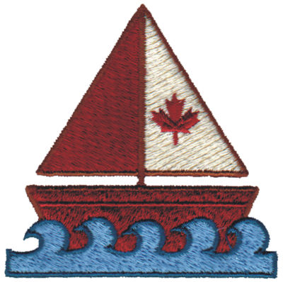 """Embroidery Design: Canadian Boat3.08"""" x 3.05"""""""