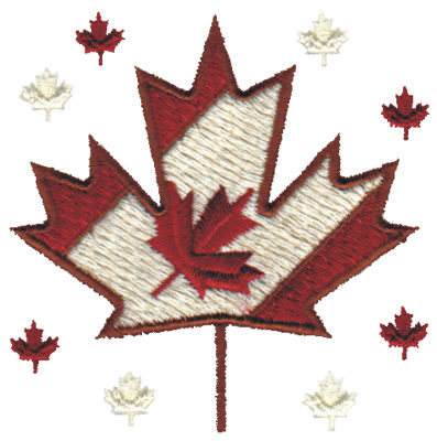 """Embroidery Design: Canadian Maple Leaves3.09"""" x 3.03"""""""