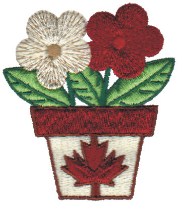 """Embroidery Design: Canadian Flower Pot2.69"""" x 3.05"""""""