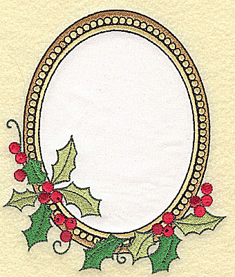 Embroidery Design: Christmas Frame applique with holly 5.46w X 4.65h