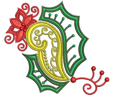 Embroidery Design: Christmas Paisley 10 3.27w X 2.95h