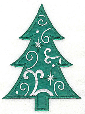 Embroidery Design: Christmas Tree applique 5.90w X 4.32h