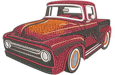 Embroidery Design: Old Truck Hot Rod Lg 4.48w X 3.09h