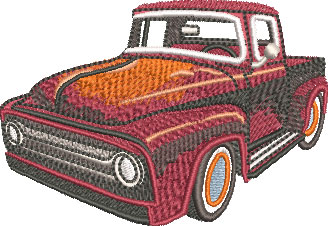 Embroidery Design: Old Truck Hot Rod Sm 3.42w X 2.36h