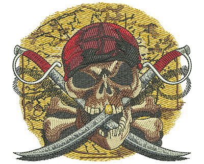 Embroidery Design: Pirates Revenge Med3.93 in. x 4.44 in