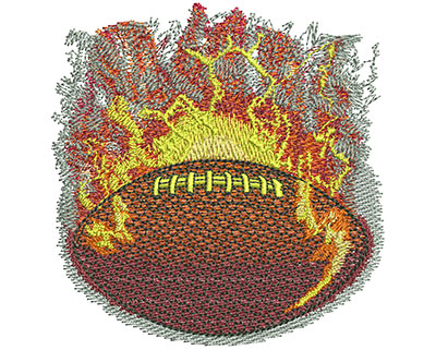 Embroidery Design: Flaming Football Lg 3.49w X 3.59h