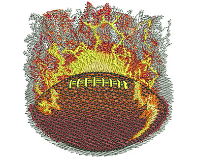 Embroidery Design: Flaming Football Med 3.01w X 3.09h