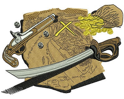 Embroidery Design: Pirates Map Med 4.75w X 3.54h