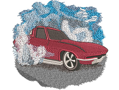 Embroidery Design: Classic Red Car Lg 4.42w X 4.13h