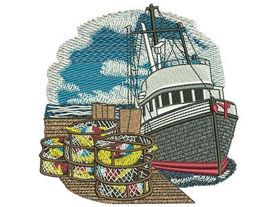 Embroidery Design: Crabbing Med 3.84w X 3.93h
