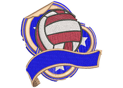 Embroidery Design: Volleyball Grunge Sticker Lg 4.01w X 3.99h