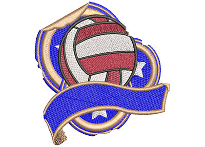 Embroidery Design: Volleyball Grunge Sticker Med 3.51w X 3.49h