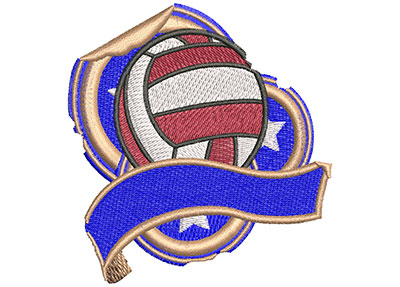 Embroidery Design: Volleyball Grunge Sticker Sm 3.01w X 3.00h