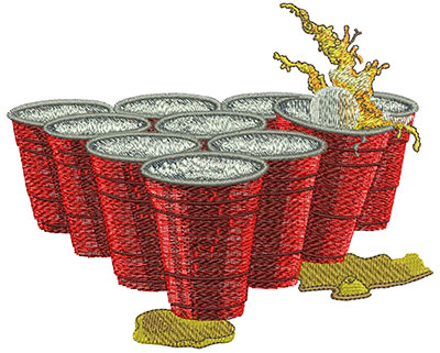 Embroidery Design: Beer Pong Cups Lg 5.51w X 4.48h
