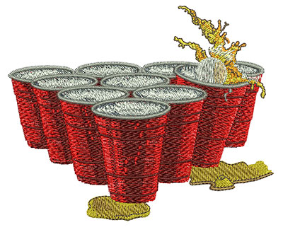 Embroidery Design: Beer Pong Cups Med 4.46w X 3.62h