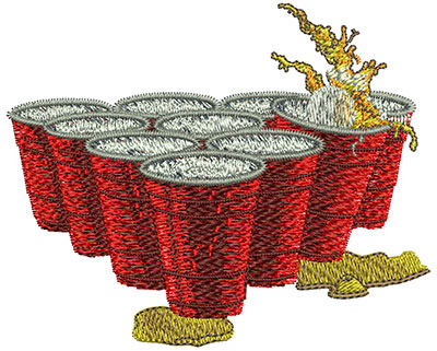 Embroidery Design: Beer Pong Cups Sm 3.51w X 2.85h