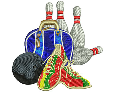 Embroidery Design: Bowling Set Up Lg 5.51w X 5.50h