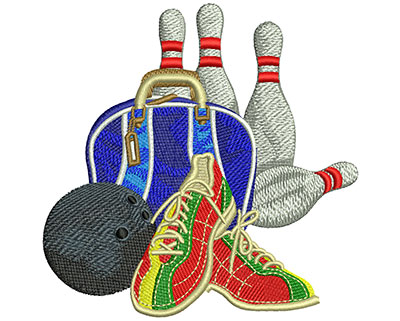 Embroidery Design: Bowling Set Up Med 4.45w X 4.44h