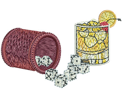 Embroidery Design: Bar Dice med1.96 in x 3.02 in
