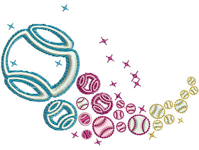 Embroidery Design: Tennis Rainbow Glow Lg 4.04w X 2.92h