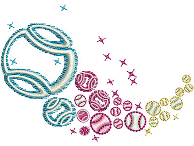 Embroidery Design: Tennis Rainbow Glow Sm 3.04w X 2.20h