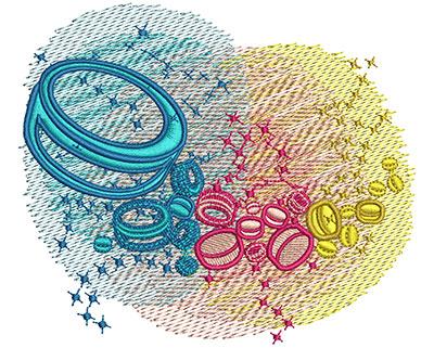 Embroidery Design: Ice Hockey Rainbow Glow Lg 4.08w X 3.51h