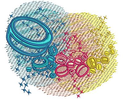 Embroidery Design: Ice Hockey Rainbow Glow Sm 3.08w X 2.62h