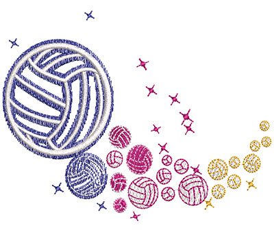 Embroidery Design: Volleyball Rainbow Glow Lg 3.95w X 2.91h