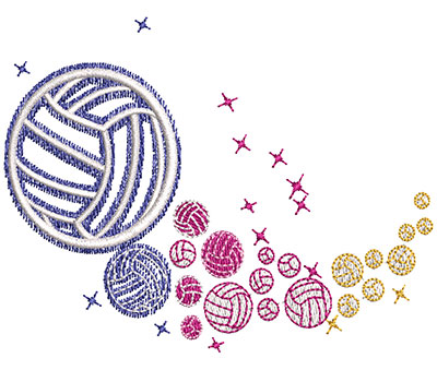 Embroidery Design: Volleyball Rainbow Glow Med 3.45w X 2.54h