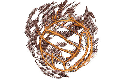 Embroidery Design: Volleyball Smoke Glow Lg 3.78w X 4.01h