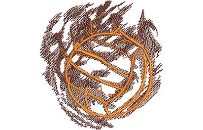 Embroidery Design: Volleyball Smoke Glow Med 3.33w X 3.51h